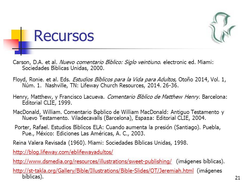 Recursos Carson, D.A. et al. Nuevo comentario Bı́blico: Siglo veintiuno. electronic ed. Miami: Sociedades Bı́blicas Unidas, 2000.