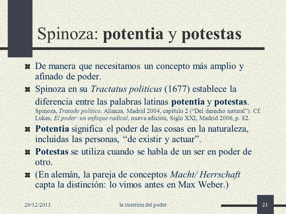 Spinoza: potentia y potestas