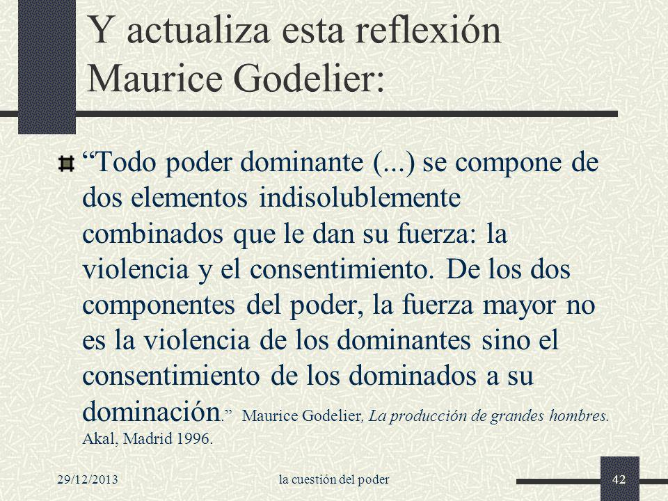 Y actualiza esta reflexión Maurice Godelier: