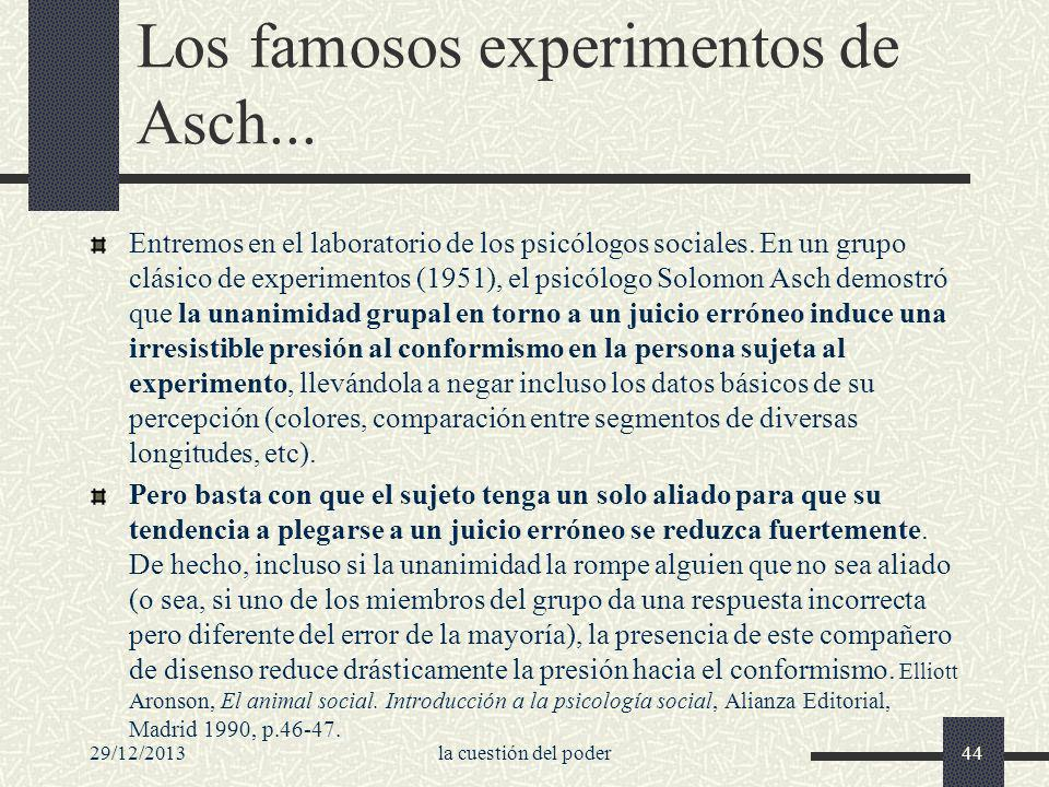 Los famosos experimentos de Asch...