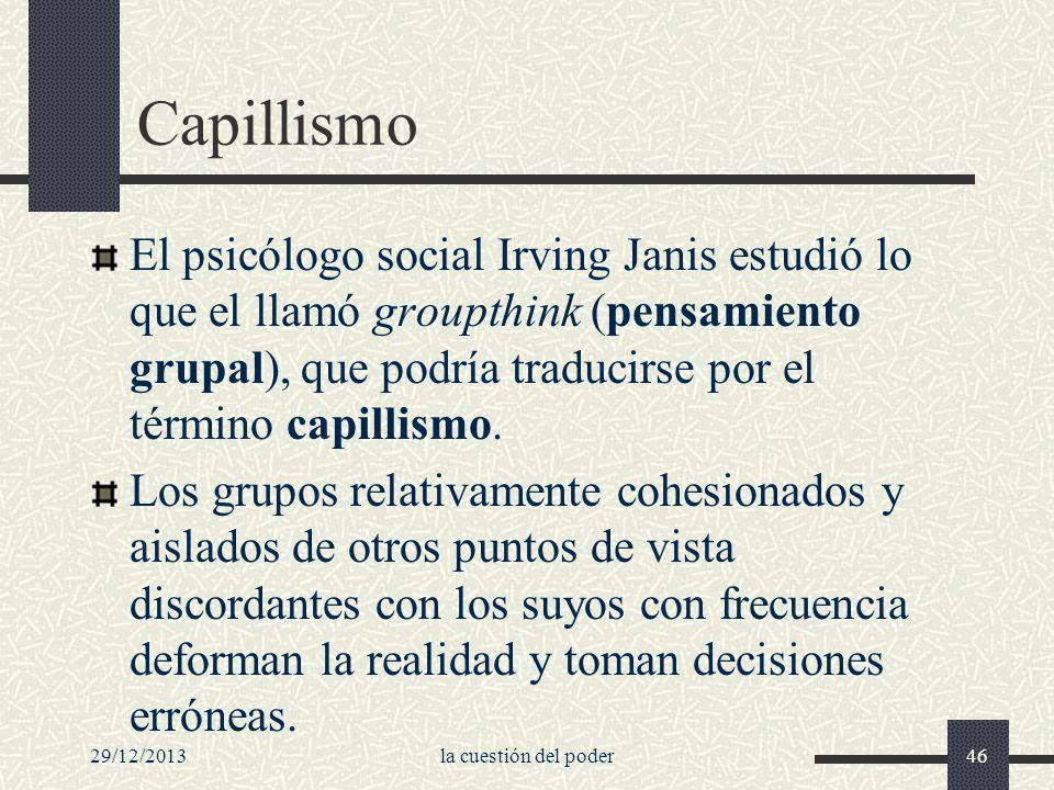 Capillismo El psicólogo social Irving Janis estudió lo que el llamó groupthink (pensamiento grupal), que podría traducirse por el término capillismo.