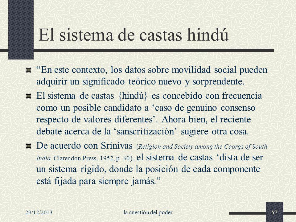 El sistema de castas hindú