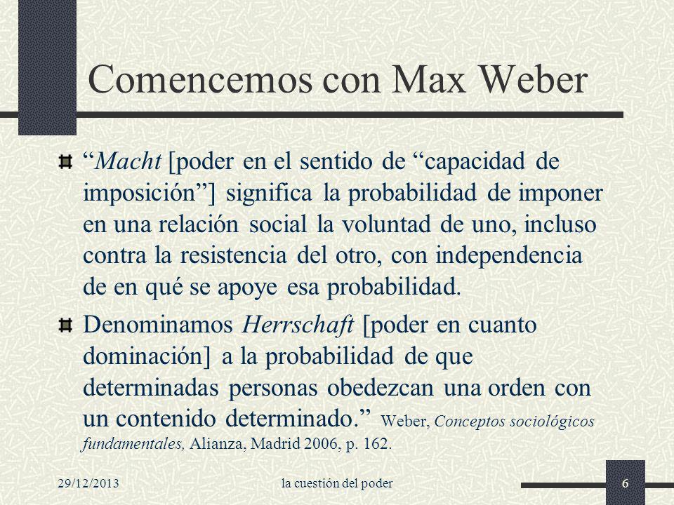 Comencemos con Max Weber