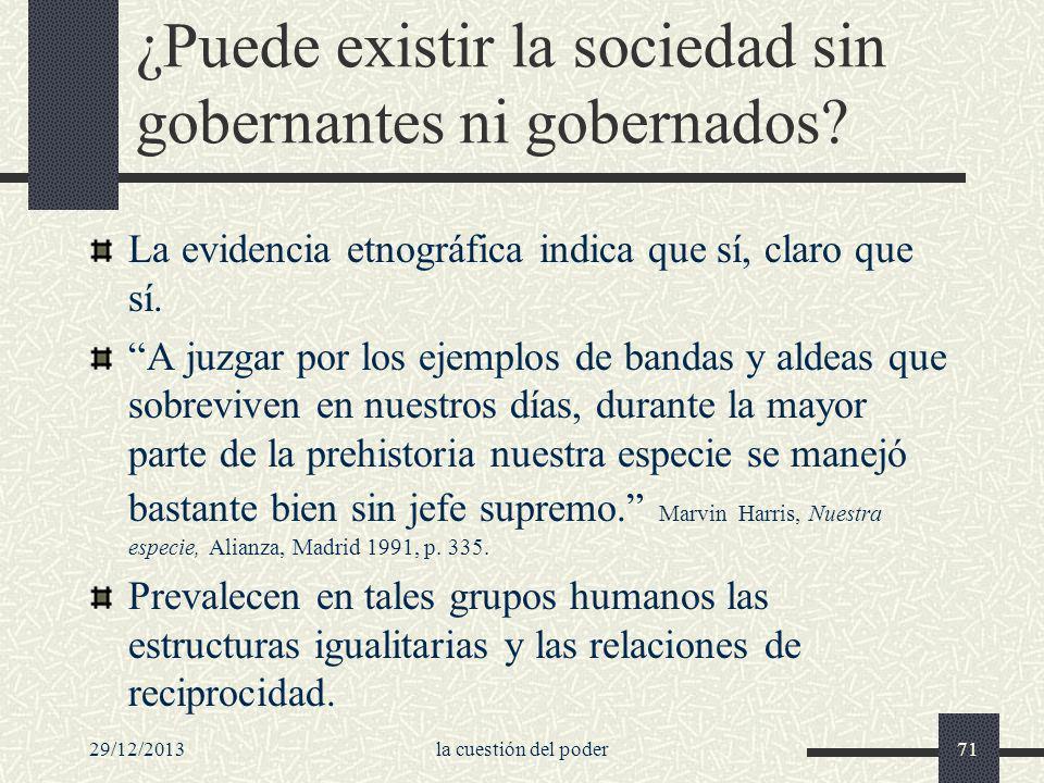 ¿Puede existir la sociedad sin gobernantes ni gobernados
