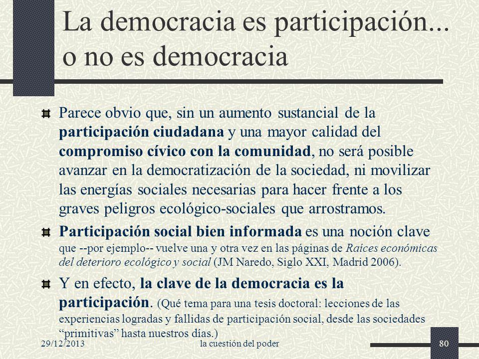 La democracia es participación... o no es democracia