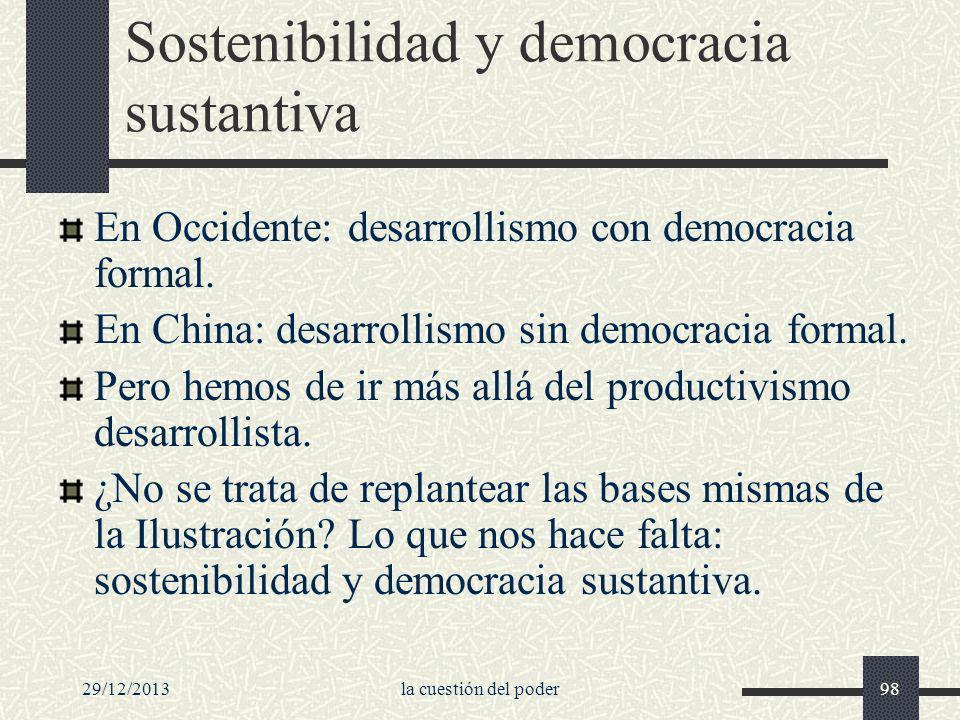 Sostenibilidad y democracia sustantiva