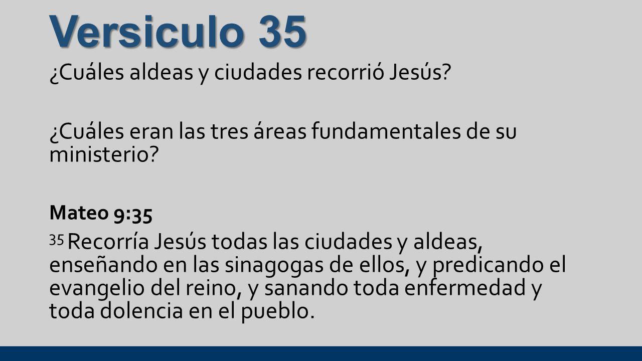 Versiculo 35 ¿Cuáles aldeas y ciudades recorrió Jesús