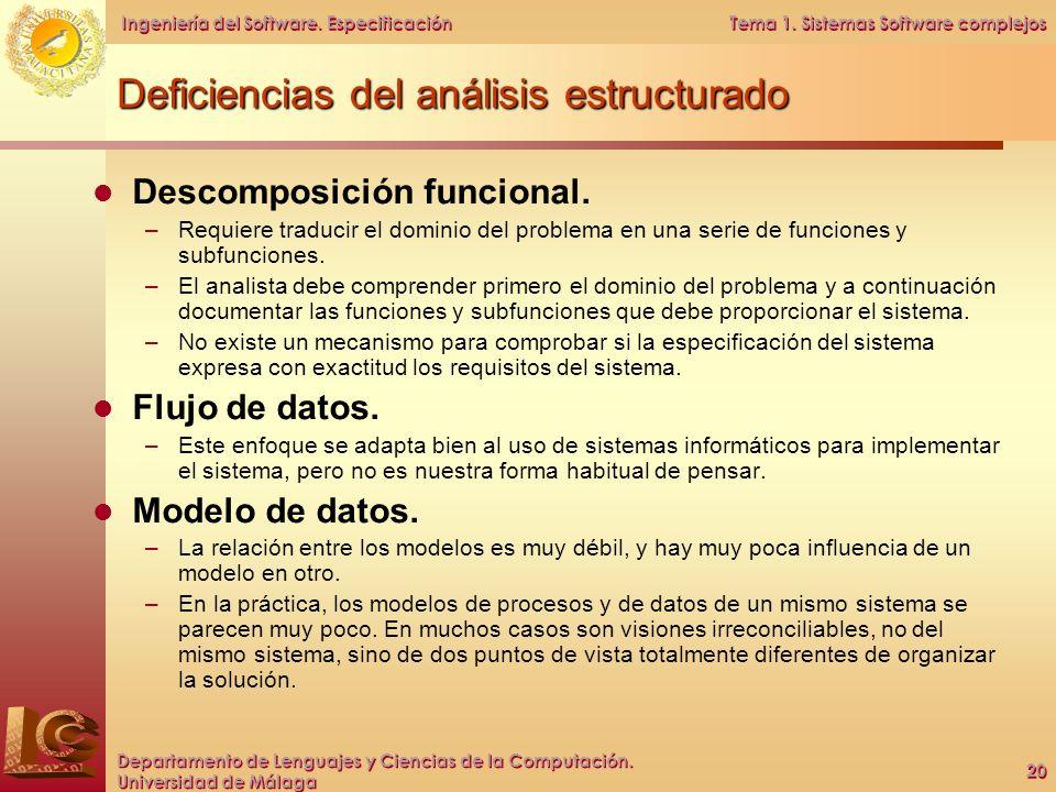Deficiencias del análisis estructurado