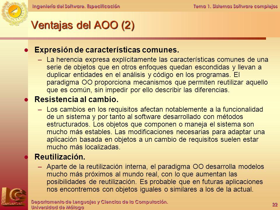 Ventajas del AOO (2) Expresión de características comunes.