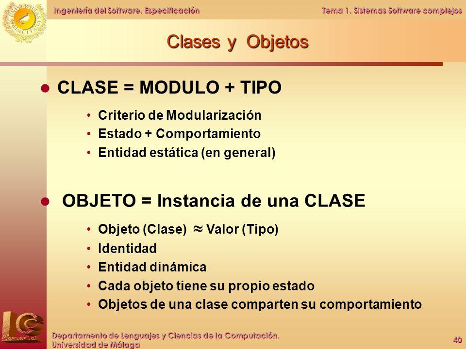 OBJETO = Instancia de una CLASE