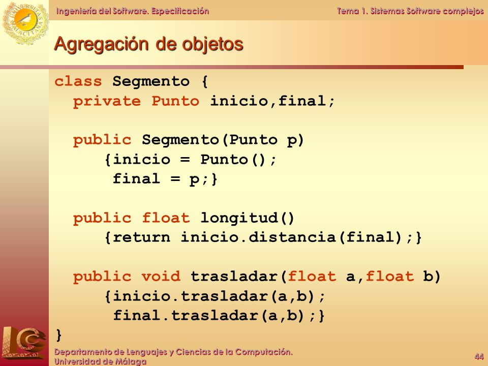 Agregación de objetos class Segmento { private Punto inicio,final;