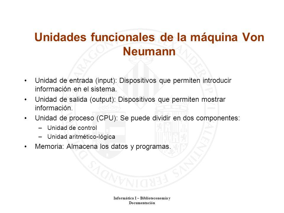 Unidades funcionales de la máquina Von Neumann