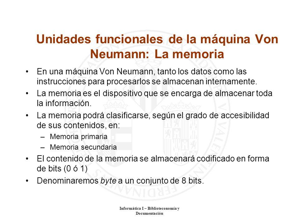 Unidades funcionales de la máquina Von Neumann: La memoria