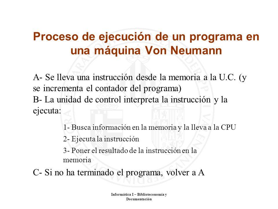 Proceso de ejecución de un programa en una máquina Von Neumann