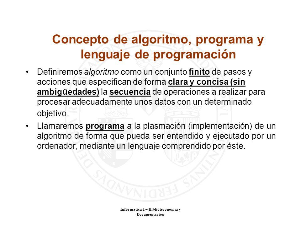 Concepto de algoritmo, programa y lenguaje de programación