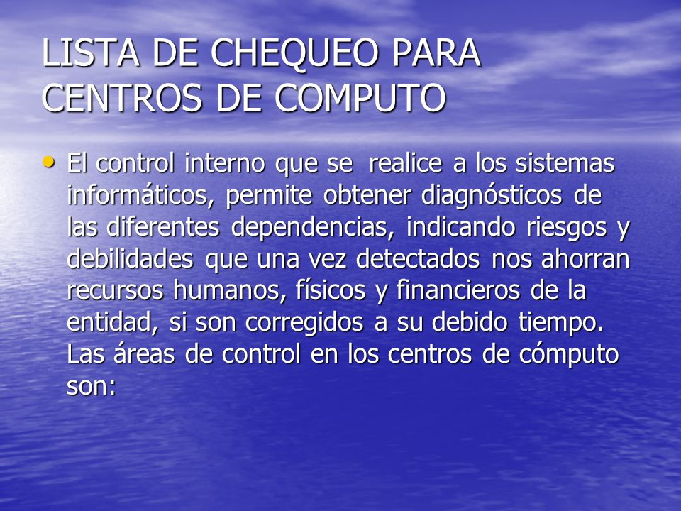 LISTA DE CHEQUEO PARA CENTROS DE COMPUTO
