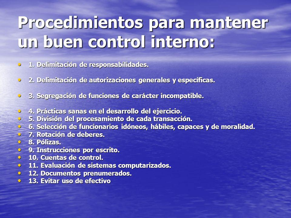 Procedimientos para mantener un buen control interno: