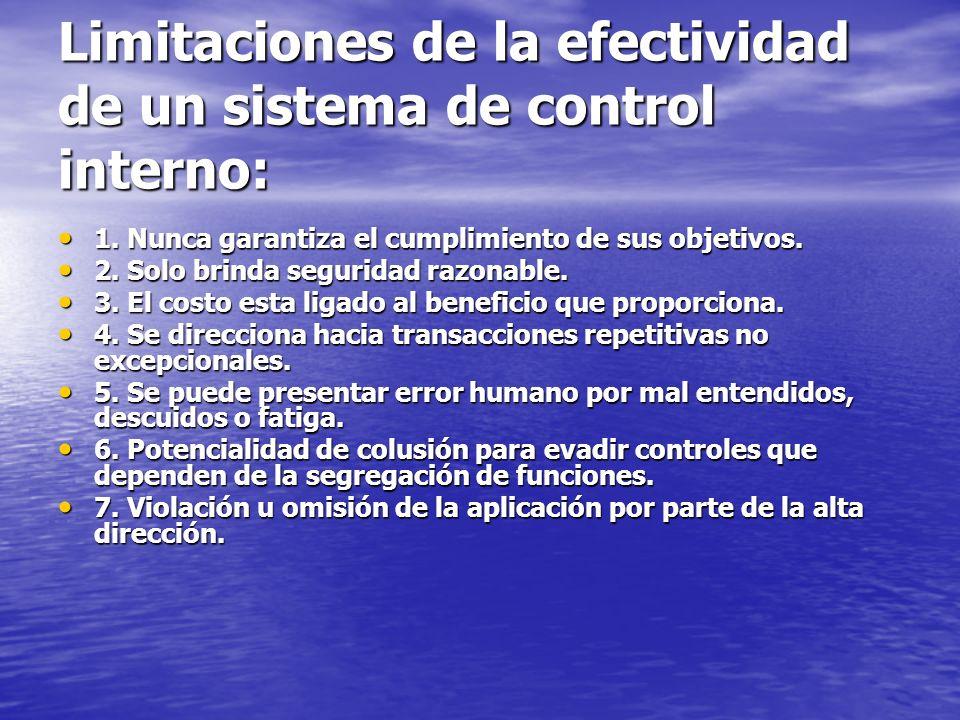 Limitaciones de la efectividad de un sistema de control interno: