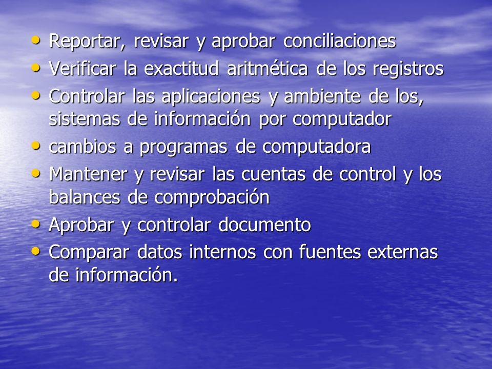 Reportar, revisar y aprobar conciliaciones