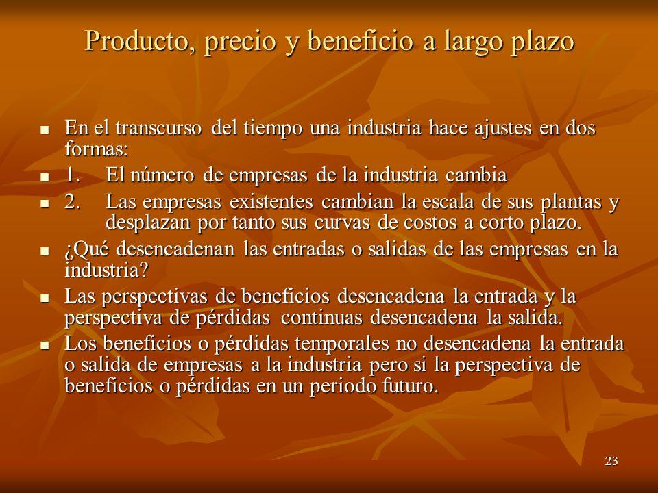 Producto, precio y beneficio a largo plazo