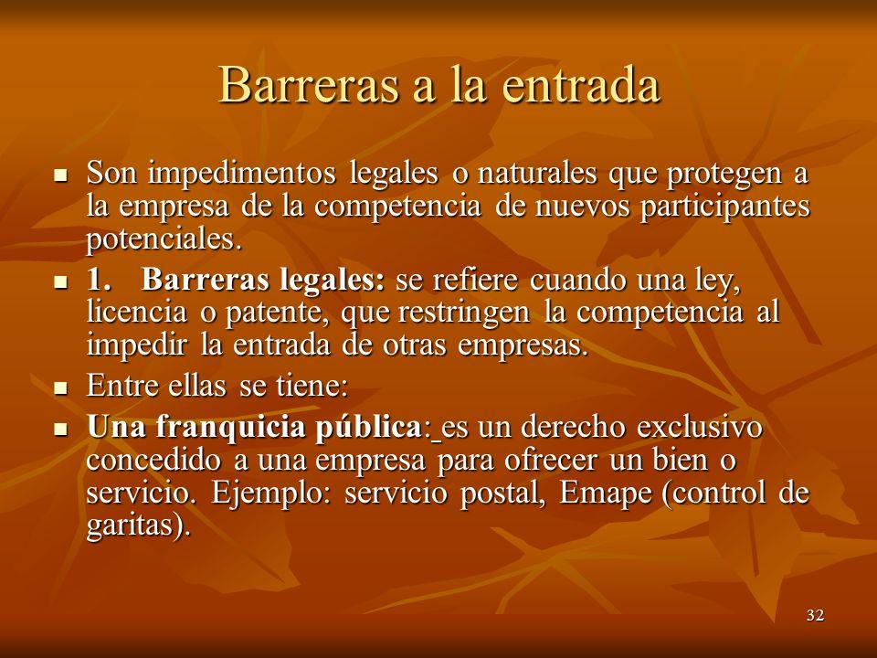 Barreras a la entrada Son impedimentos legales o naturales que protegen a la empresa de la competencia de nuevos participantes potenciales.