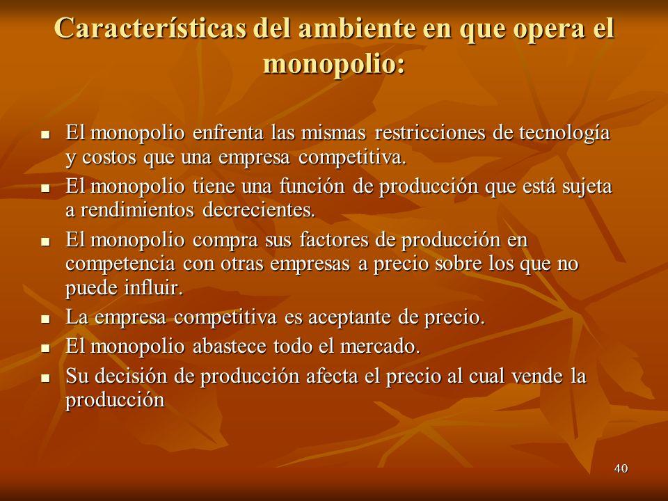 Características del ambiente en que opera el monopolio: