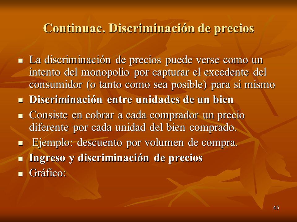 Continuac. Discriminación de precios