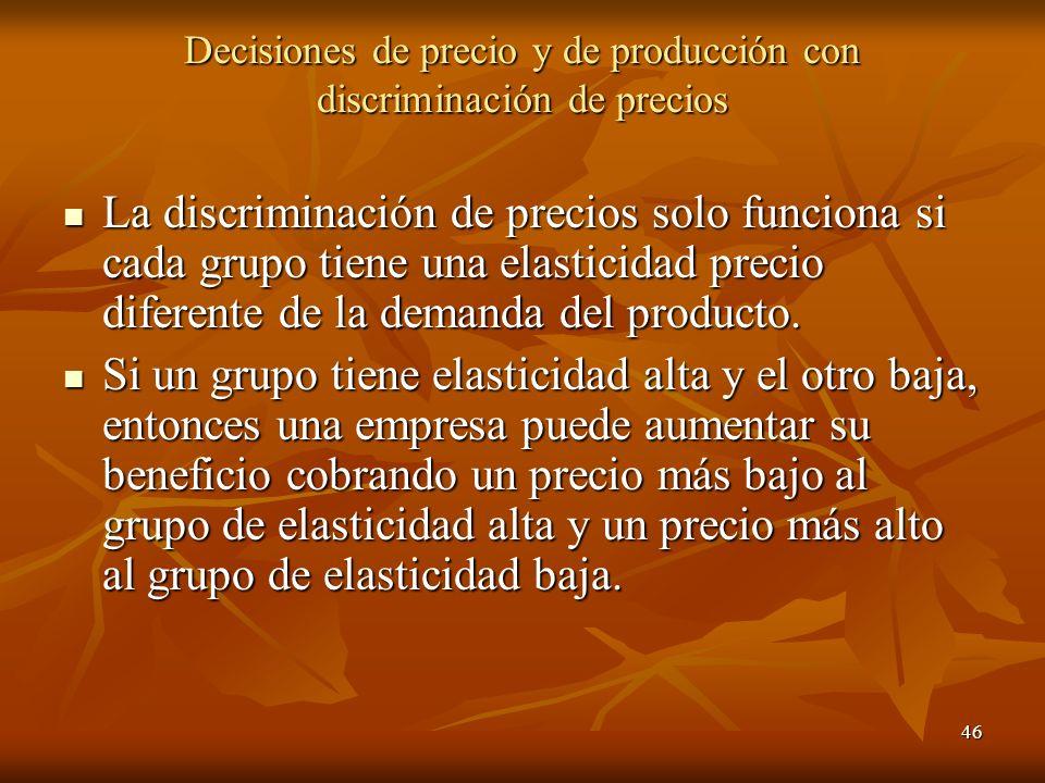 Decisiones de precio y de producción con discriminación de precios