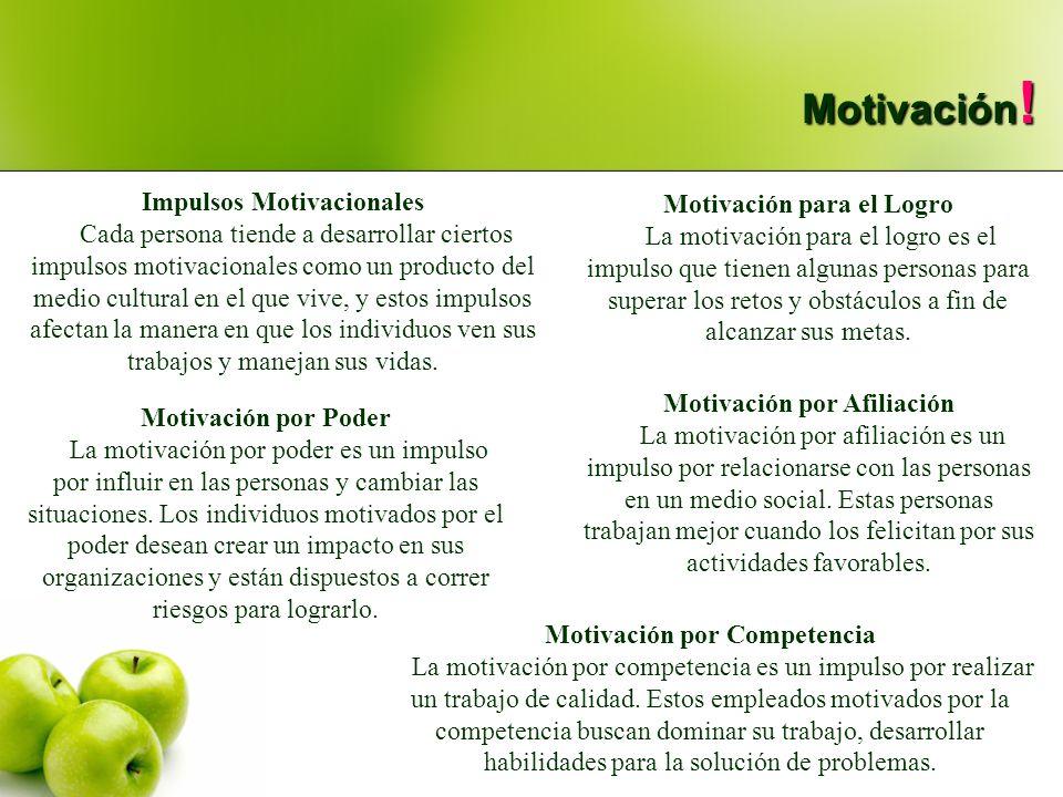 Motivación! Impulsos Motivacionales Motivación para el Logro