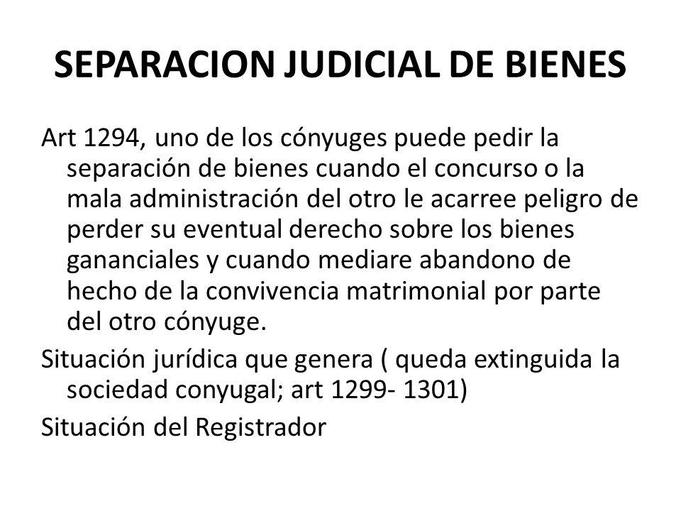 SEPARACION JUDICIAL DE BIENES