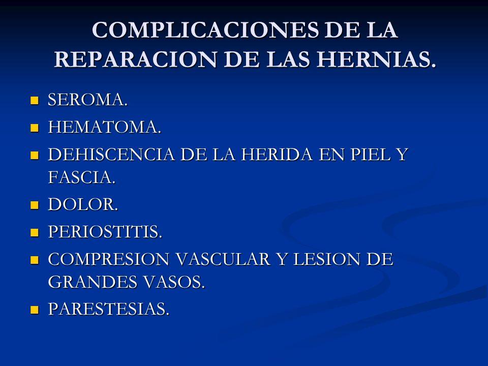 COMPLICACIONES DE LA REPARACION DE LAS HERNIAS.