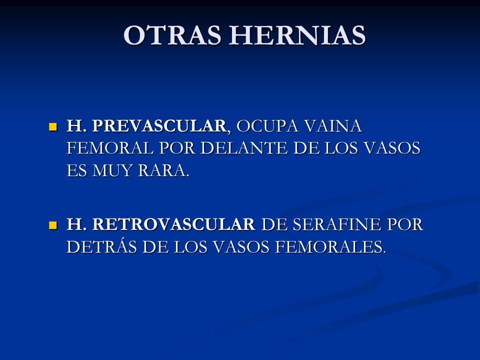 OTRAS HERNIAS H. PREVASCULAR, OCUPA VAINA FEMORAL POR DELANTE DE LOS VASOS ES MUY RARA.