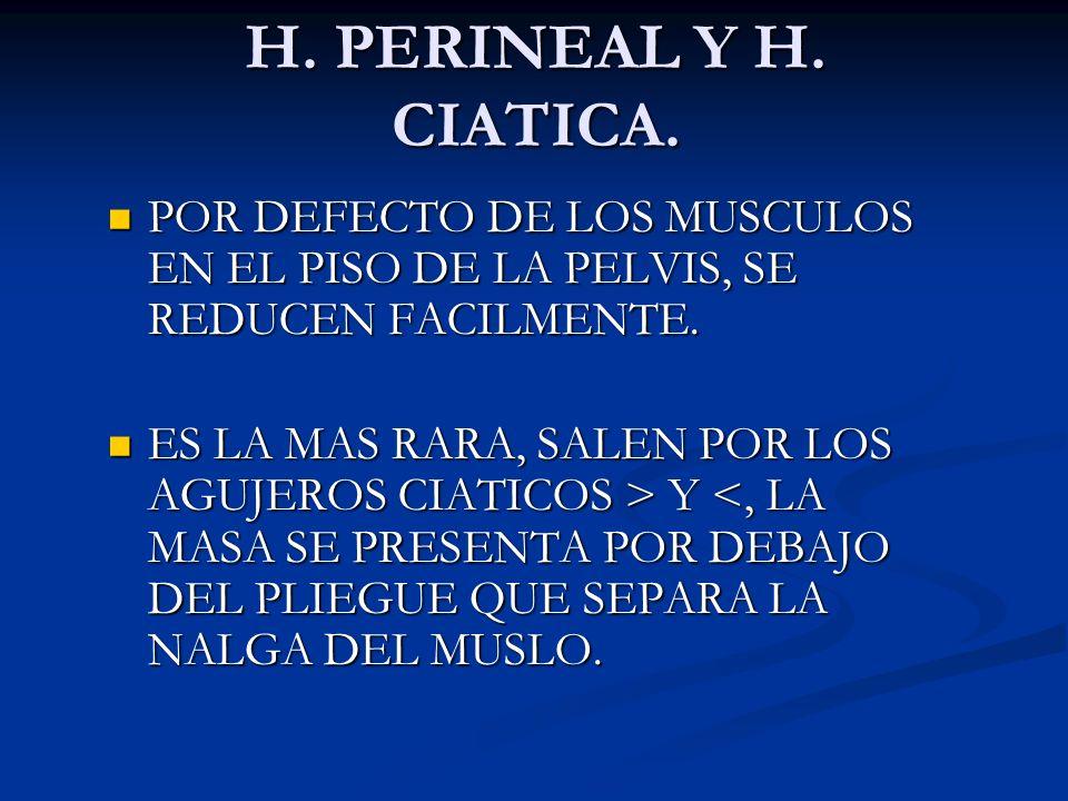 H. PERINEAL Y H. CIATICA. POR DEFECTO DE LOS MUSCULOS EN EL PISO DE LA PELVIS, SE REDUCEN FACILMENTE.