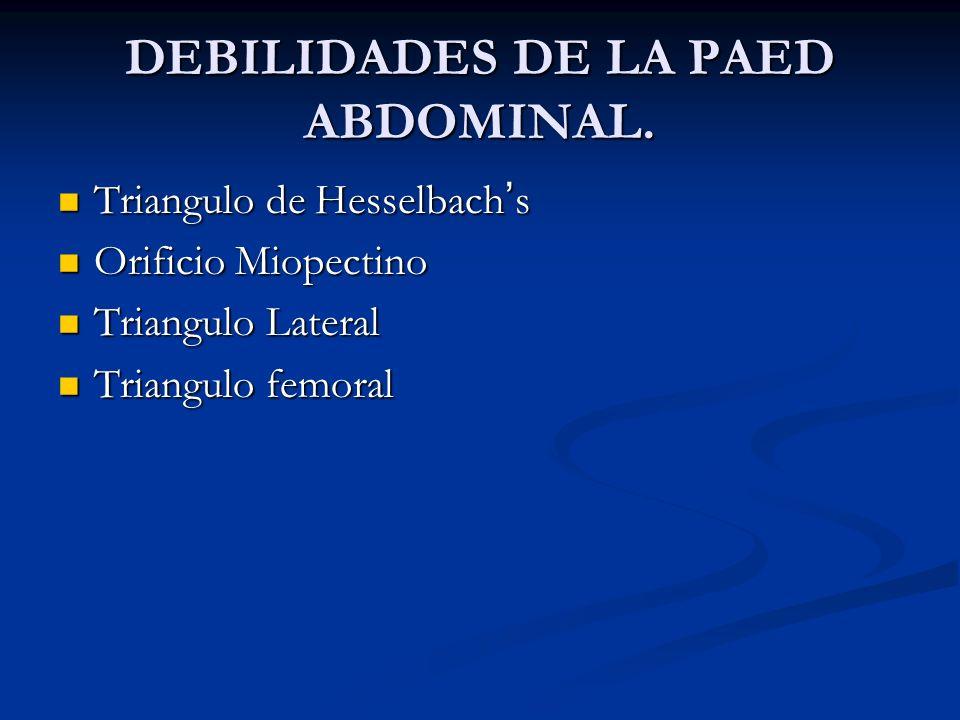 DEBILIDADES DE LA PAED ABDOMINAL.