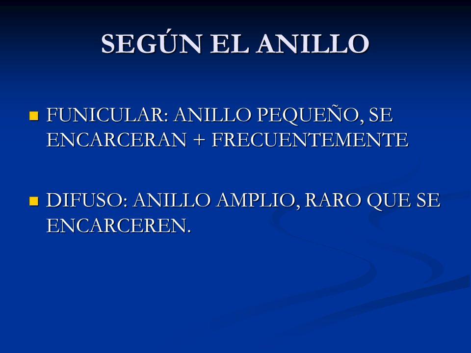 SEGÚN EL ANILLO FUNICULAR: ANILLO PEQUEÑO, SE ENCARCERAN + FRECUENTEMENTE.