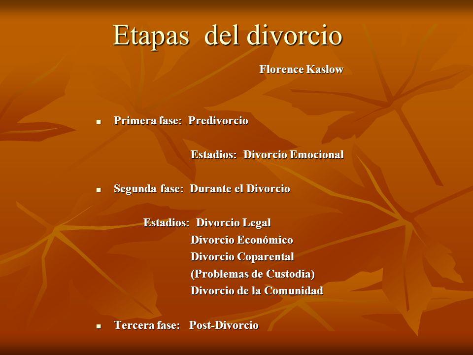 Etapas del divorcio Florence Kaslow Primera fase: Predivorcio