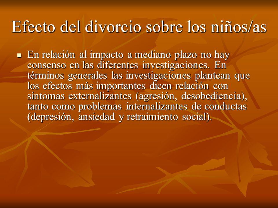 Efecto del divorcio sobre los niños/as