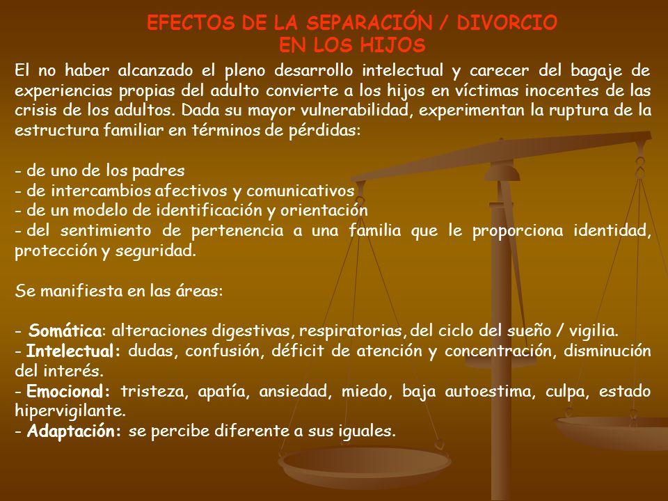 EFECTOS DE LA SEPARACIÓN / DIVORCIO