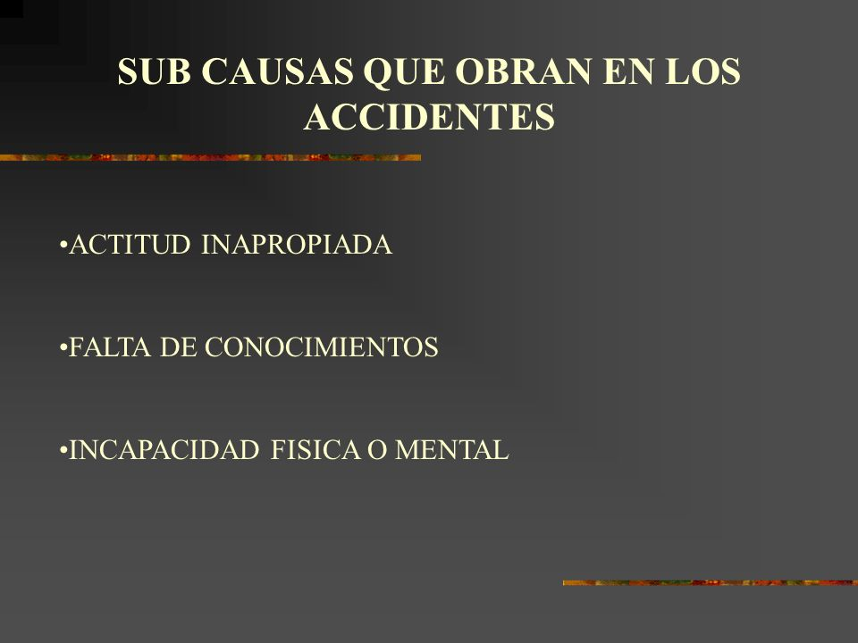 SUB CAUSAS QUE OBRAN EN LOS ACCIDENTES
