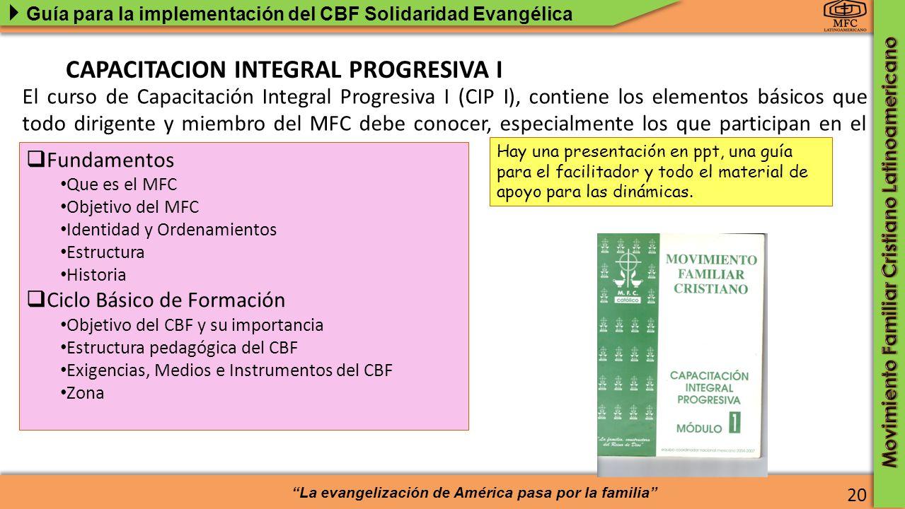 CAPACITACION INTEGRAL PROGRESIVA I