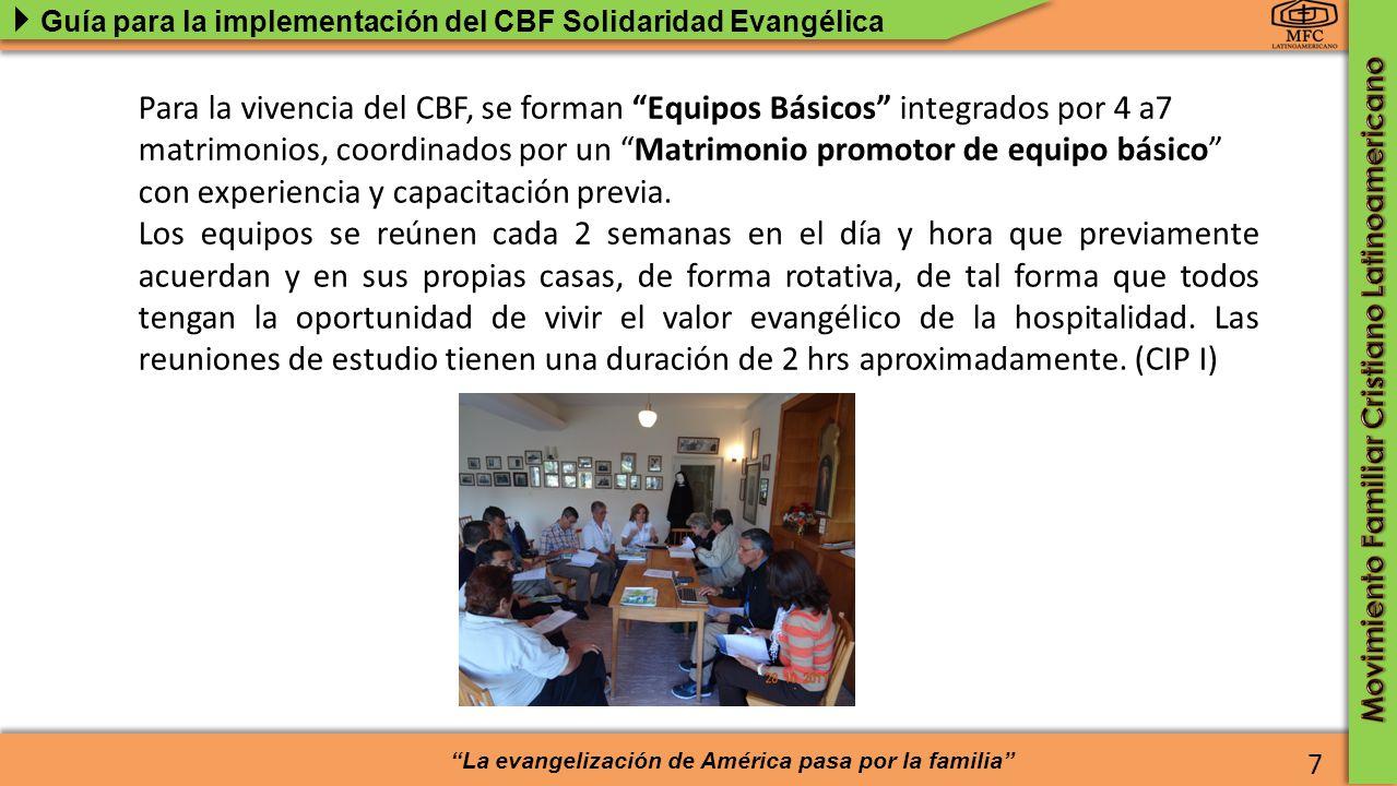 Para la vivencia del CBF, se forman Equipos Básicos integrados por 4 a7 matrimonios, coordinados por un Matrimonio promotor de equipo básico con experiencia y capacitación previa.