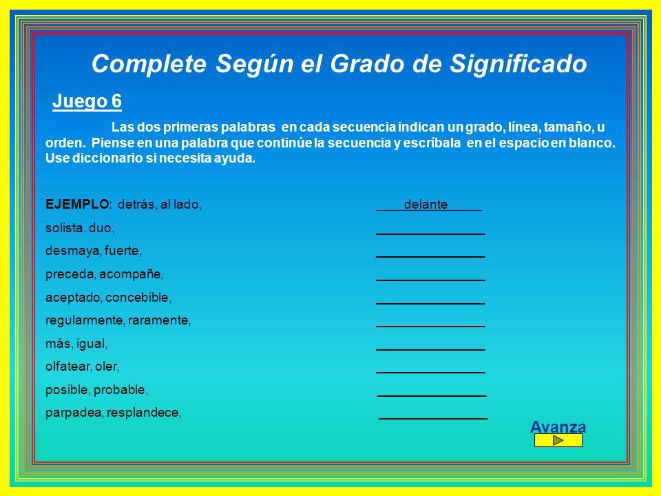 Complete Según el Grado de Significado