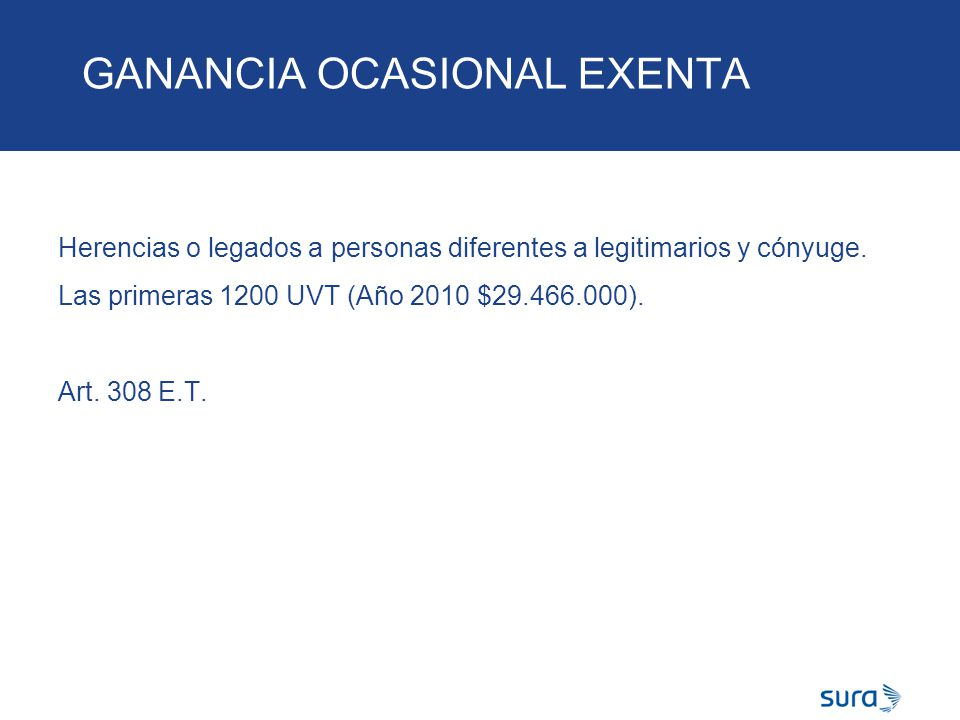GANANCIA OCASIONAL EXENTA