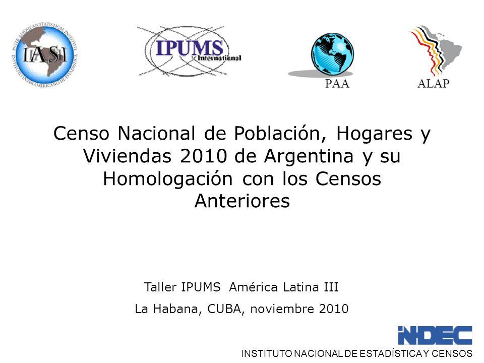 Censo Nacional de Población, Hogares y Viviendas 2010 de Argentina y su Homologación con los Censos Anteriores