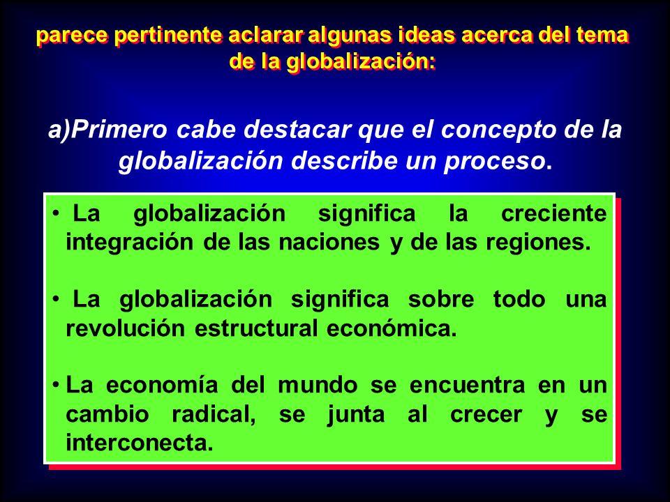 parece pertinente aclarar algunas ideas acerca del tema de la globalización: