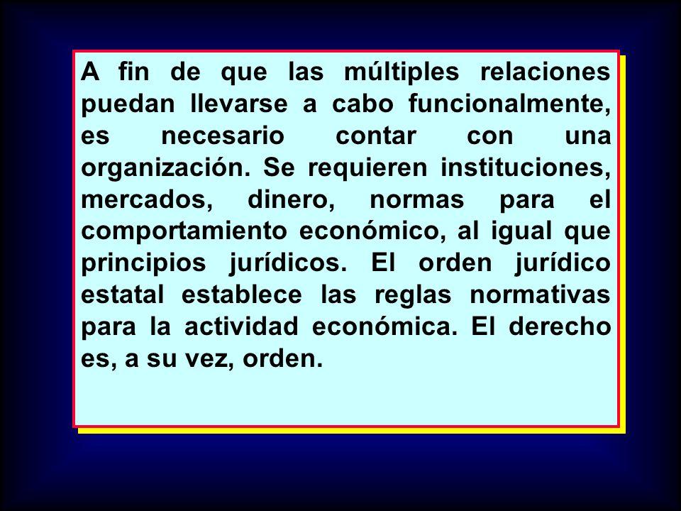 A fin de que las múltiples relaciones puedan llevarse a cabo funcionalmente, es necesario contar con una organización.