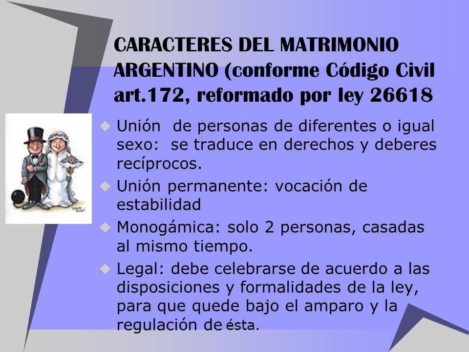 CARACTERES DEL MATRIMONIO ARGENTINO (conforme Código Civil art