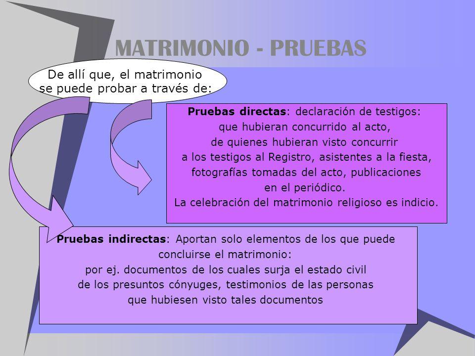 MATRIMONIO - PRUEBAS De allí que, el matrimonio