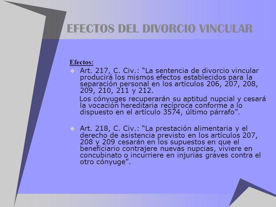 EFECTOS DEL DIVORCIO VINCULAR