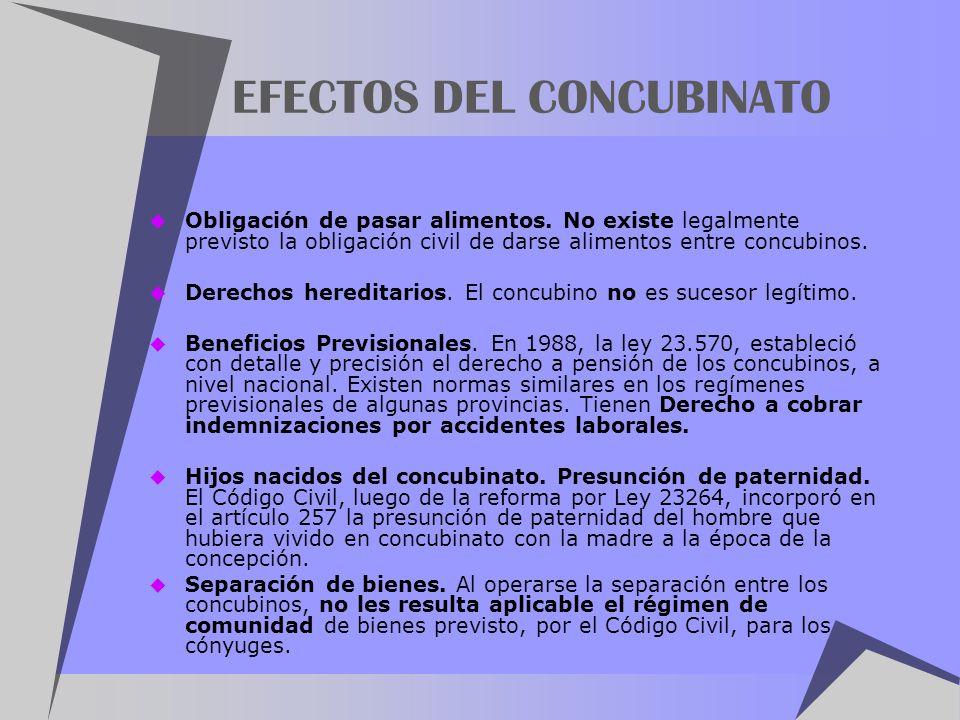 EFECTOS DEL CONCUBINATO